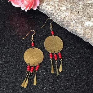 Brass hammered tin hippie ethnic earrings